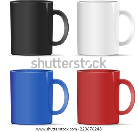 four mugs of various colors