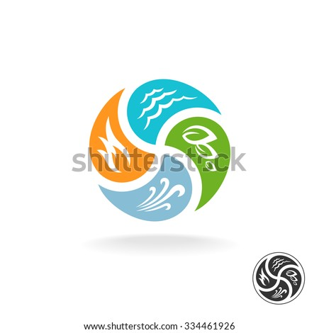 Four natural elements logo. Fire, water, air wind and nature power.