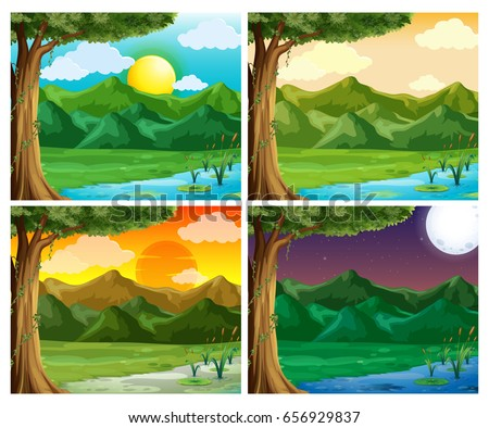 four nature scene at different