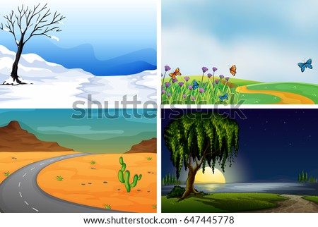 four nature scenes day and