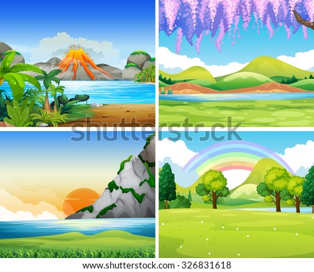 four nature scenes with lake