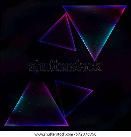 four neon glowing triangle soap