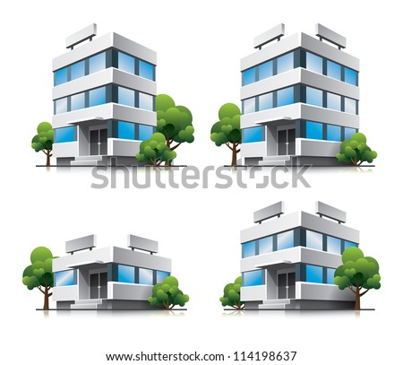 Four office vector buildings in perspective view with blue glass facade and green trees in cartoon style