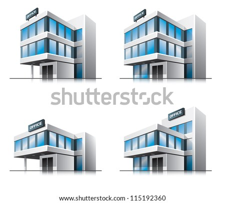 Four office vector house illustration in perspective view with blue glass facade. Work office building icon in cartoon style.