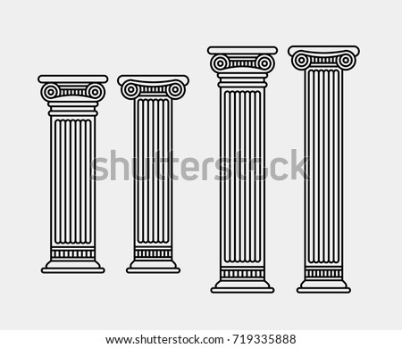 Four outlined ancient columns. Two long and two short
