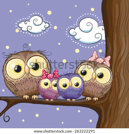 four owls mother  father  son