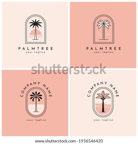 Four palm tree vector logo, emblem set. Tropical nature, paradise symbol. Photo stock ©