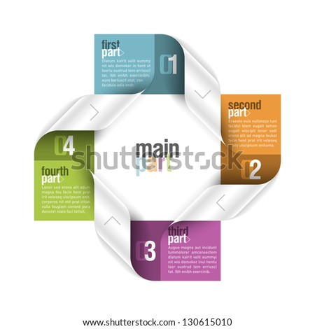 Four parts design element Fully editable vector