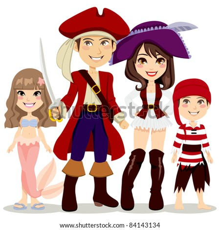 Four people family celebrating Halloween holiday party with pirate and mermaid costumes