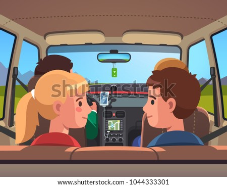 Four people family on vacation car road trip. Countryside travel ride. Car interior, kids on back seat, parents on front row, father driving. Smiling sister & brother. Flat style vector illustration