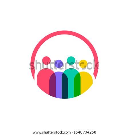 four people logo vector icon illustration Photo stock ©
