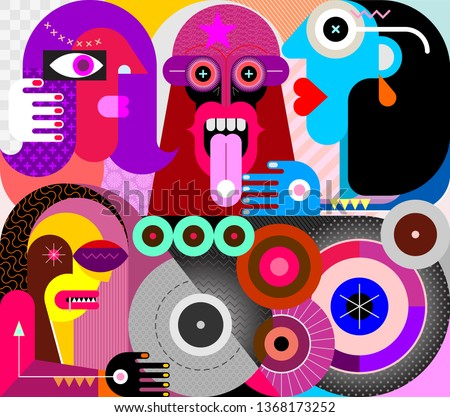 Four people use drugs. Strange man eating a pill. Modern abstract art vector illustration.