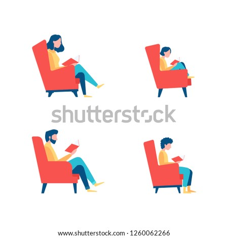 Four persons reading comfortably sitting in a chairs