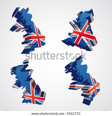 four perspective  views in three dimensional style of the uk with the uk flag inside