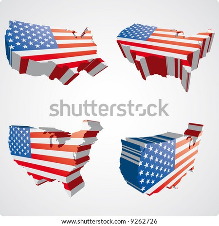 four perspective  views in three dimensional style of the usa with the usa flag inside