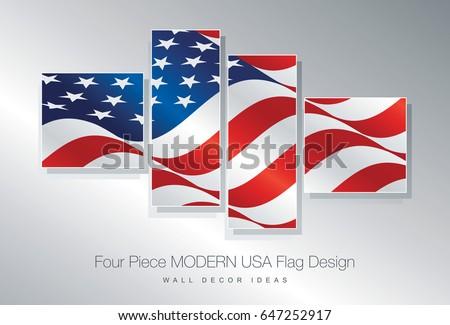 four piece usa flag wall decor