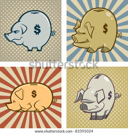 Four Piggy Bank Vectors.