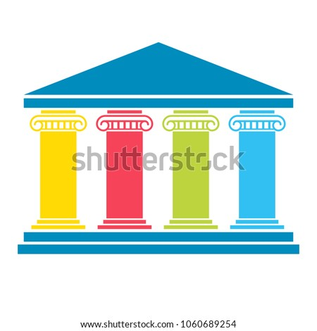 Four pillar diagram. Vector image isolated on white background