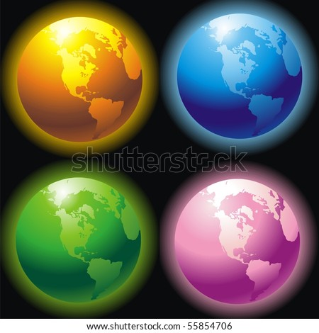 colors of planets. stock vector : Four planets of