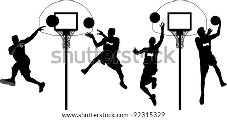 Four players in basketball at the background of basketball rings (vector);
