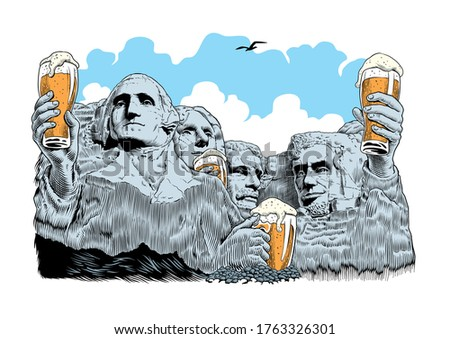 Four presidents drinking beer. Rushmore. Comic style vector illustration. Zdjęcia stock ©