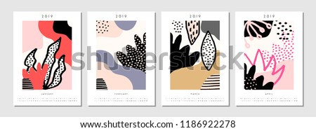 Four printable A4 size 2019 calendar templates for January, February, March and April. Abstract geometric and nature-inspired shapes in black, pastel pink, white and red.