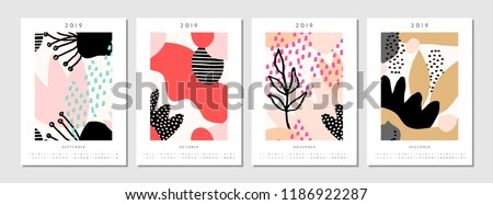 Four printable A4 size 2019 calendar templates for September, October, November and December. Abstract geometric and nature-inspired shapes in black, pastel pink, white and red.