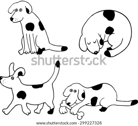 four puppies set hand drawn