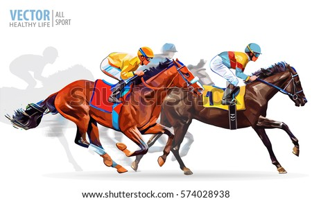four racing horses competing