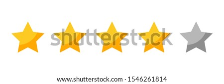 four rating stars icon for review product,internet website and mobile application on white backgrond vector