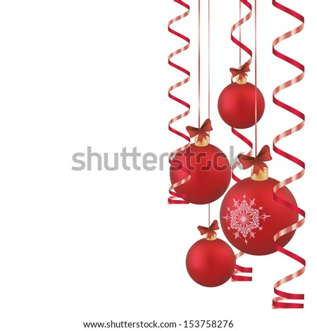 four red Christmas balls with ribbons on white background #153758276