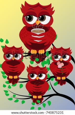four red cute flirtatious owls