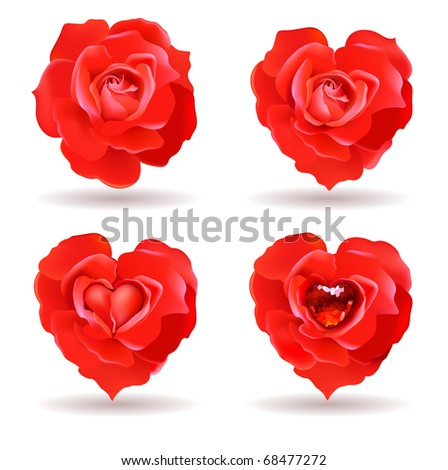 four red roses with valentine symbolics