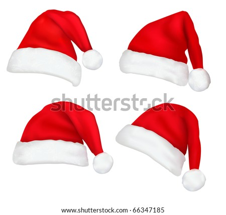 Four red santa hats. Vector.