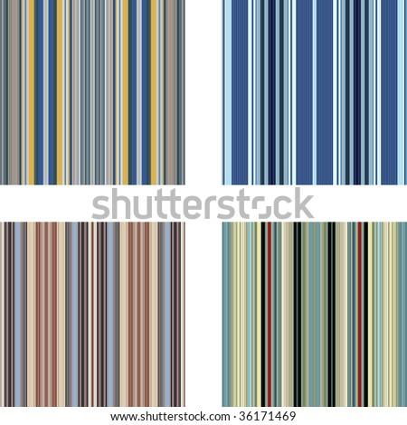 Four retro (seamless) vector stripe patterns in bright colors