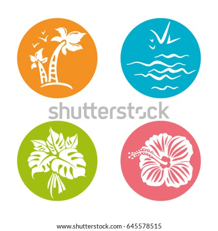 four round summer stickers