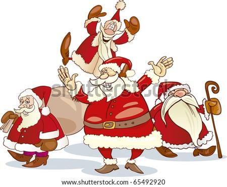 four santa clauses