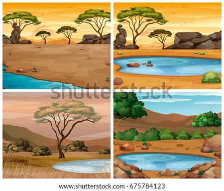 Four savanna scenes at different times of day illustration