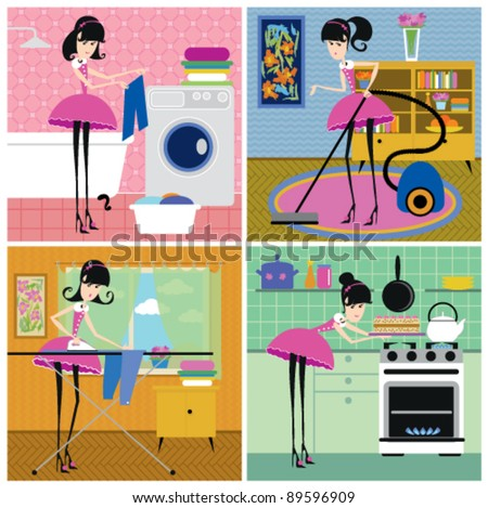 four scenes from the life of housewife: washing, vacuuming, ironing, baking