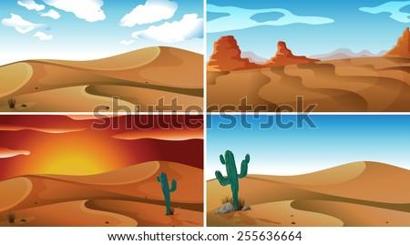 four scenes of deserts