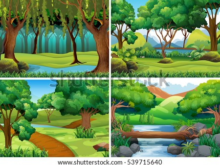 four scenes of forest and river