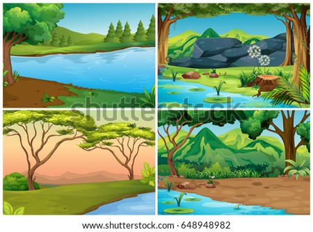 Four scenes of forests illustration