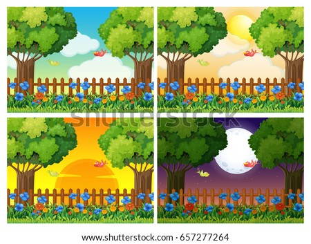 four scenes of garden at