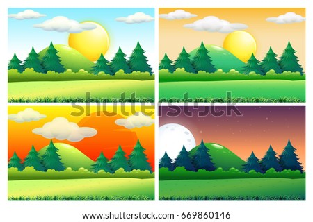 four scenes of green fields at