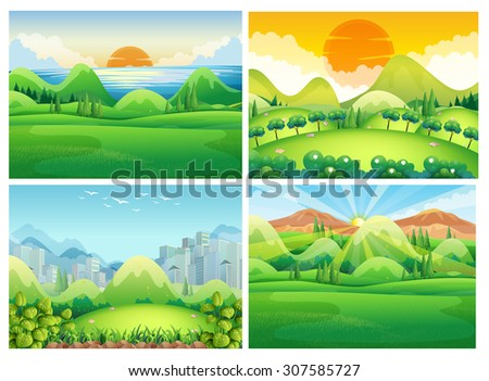 four scenes of nature at
