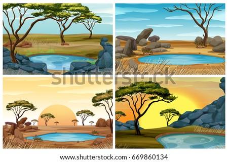 Four scenes of savanna field with waterhole illustration