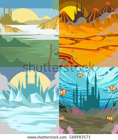 four scenes with castles ice
