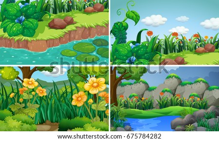 four scenes with flowers in