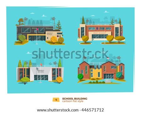 four school building in flat