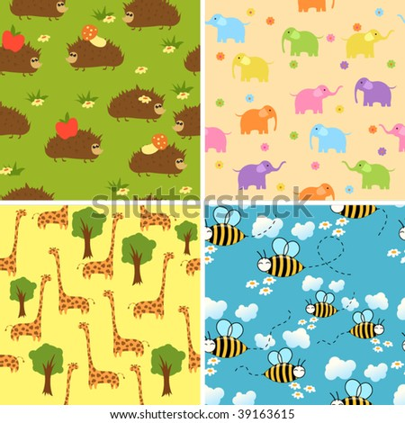 Four seamless animal backgrounds